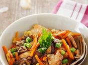Salteado pollo setas verduras