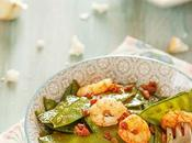 Tirabeques salteados gambas curry