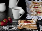 Hojaldre (Cuadraditos) Rellenos Crema Pastelera Fresas