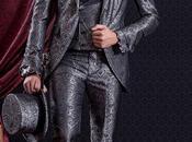 Traje novio entallado barroco moderno gris elegante