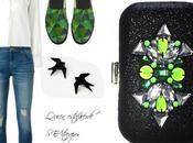 Clutch joya negro verde neon