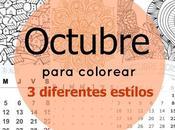 Calendario para colorear OCTUBRE tres diseños