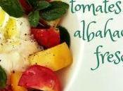 Ensalada burrata, tomates albahaca fresca