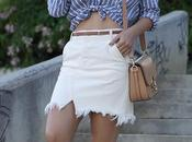 Striped shirt ripped skirt