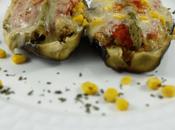 Berenjena rellena gambas quinoa
