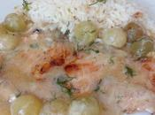 Filete salmon salsa cava, nata uvas moscatel eneldo fresco
