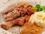 Lagarto cerdo salsa gravy puré patata