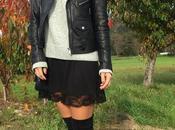 Vestido negro puntilla cuello alto