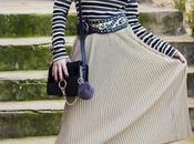 Golden Pleated Midi Skirt total look zara