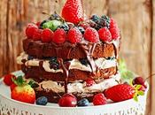 Cake fantastic chocolate with cocoa mousse fruits