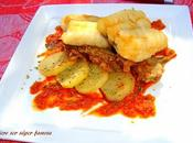Merluza andaluza, guarnición, salsa romesco
