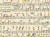Miniaturas colores sobre partituras musicales