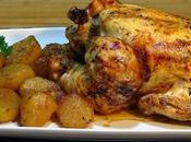 Pollo asado sentado acompañado patatas