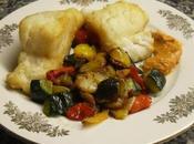 Bacalao verduras salteadas romesco