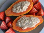 Papaya rellena gachas avena