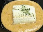 Bacalao crema patata, almendras aceite trufa