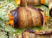 Rollitos berenjena rellenas hummus zanahorias glaseadas