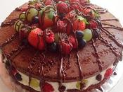 Tarta chocolate frutas
