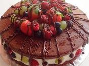 Tarta chocolate frutas