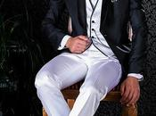 Esmoquin negro italiano solapa chal combinado blanco
