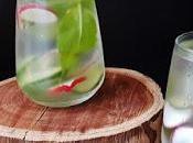Agua detox,pepino rábanos