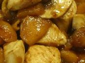 Salteado pollo champiñones chutney manzana