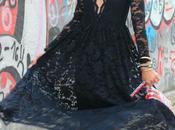 vestido escote pico encaje