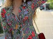 Vestido largo rayas flores