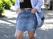Denim skirt oversize shirt
