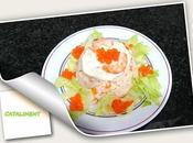 Pastel frió rape merluza perlas salmón ahumado cataliment