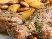 Pollo salsa champiñones