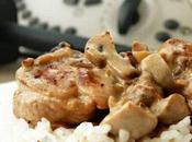 Pollo guisado champiñones salsa nata mostaza