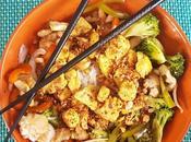 Pollo satay arroz verduras soja