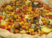 Pizza garbanzos verdura asada