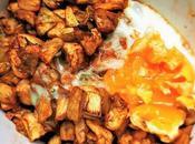 Cocina microondas berenjena pimentón huevo