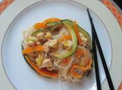 Fideos vermicelli pollo verduras