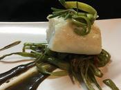 Lomo bacalao salsa regaliz juliana judias verdes