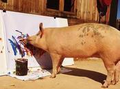 Pigcasso: adorable cerda hace pinturas valoradas miles dólares