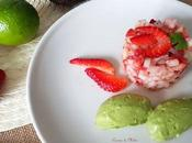 Tartar langostinos fresas crema aguacate