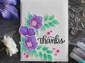 Simon Says Stamp White embossed flowers colored with Zigs