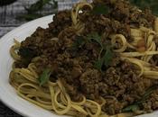Linguine boloñesa vegana soja texturizada {Vegan bolognese with textured protein linguine}