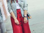 Falda polipiel roja