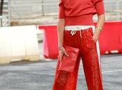 pantalon sporty lentejuelas rojo