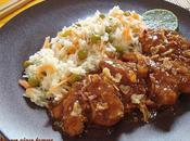 Pollo soja jengibre, miel, arroz Basmati