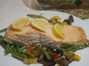 Salmón horno verduras