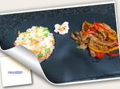 Plato combinado arroz delicias tortilla maheso ternera salsa ostras