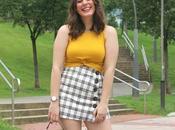 Verano mostaza falda cuadros