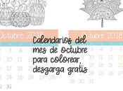 Calendario Octubre para colorear