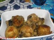 Albóndigas pollo salsa champiñones