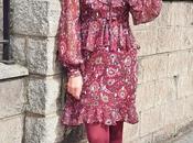 looks- vestido flores abrigo granate
